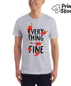 Everything is fine muška majica siva Print Store