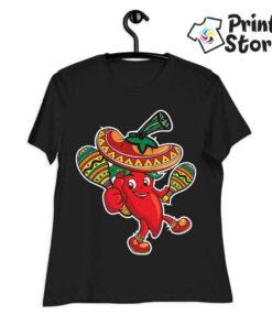 Ženska crna majica sa Meksičkom paprikom. Print Store