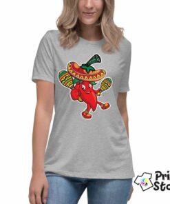 Ženska siva majica Meksička paprika. Majice sa natpisima. Print STore
