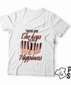 Muška bela majica - These are the keys to my Happiness