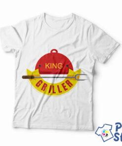 Bela muška majica King griller - Print Store online prodavnica