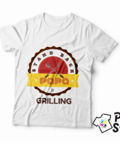 Muška bela majica Stand back PAPA is grilling.