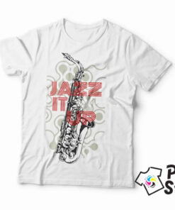 Bela muška majica sa DTG štampom - Jazz it Up