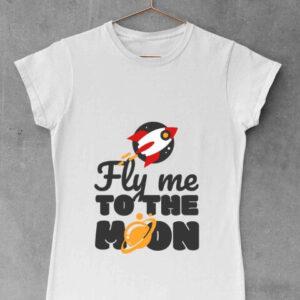 Fly me to the moon - ženska bela majica