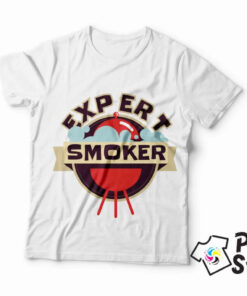 Muška bela majica Expert smoker. DTG štampa na majicama. Posetite online prodavnicu Print Store