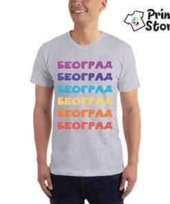 Muška siva majica sa motivima Beograda. Print Store izaberite majicu po vašem izboru.