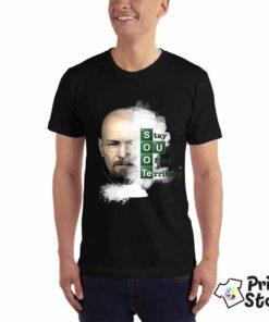 Muška crna majica sa motivom iz popularne serije Breaking bed. Stay out of my Territory