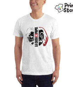 Bela muška majica sa motivom popularne serije La casa de papel . Pronađite veliki izbor majica u online prodavnici Print Store
