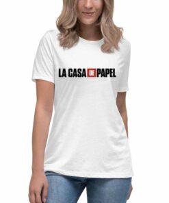 La casa de papel ženske bele majice. Print Store