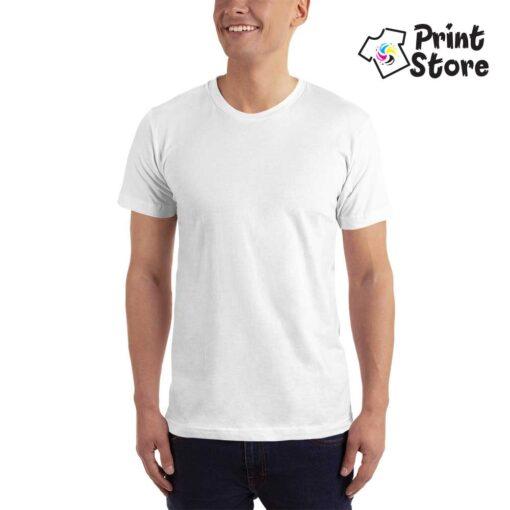 Muška bela basic majica kratak rukav, 100% pamuk vrhunski kvalitet. Print Store online prodavnica
