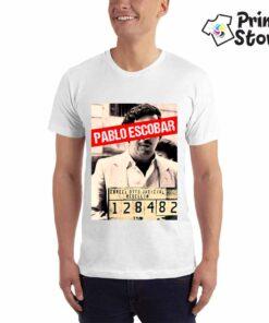 Muška bela majice sa motivom iz Narcos serije.Pablo Escobar