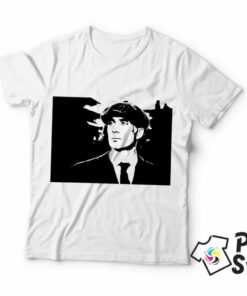 Muška bela majica Peaky Blinders crni portret. Print Store prodavnica