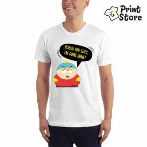 Muška bela majica sa motivom iz serije South Park. Screw you guys, I'm going home !