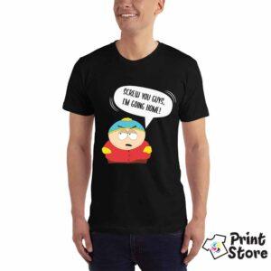 Muška crna majica sa motivom iz serije South Park. Screw you guys, I'm going home !
