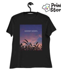 Summer sunset ženska crna majica
