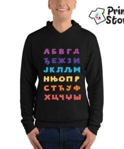 Muški crni duks sa kapuljačom azbuka - Print Store