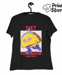 Diet tomorow - crna ženska majica - Print Store shop