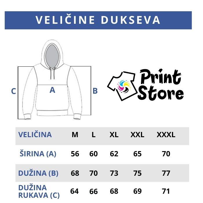 Veličine dukseva Print Store online prodavnica