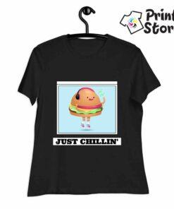 Just chillin crna ženska majica - Print Store shop