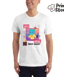 Muška bela majica - Let's virutual party hard