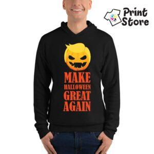Muški crni duks sa kapuljačom, Make Halloween Great Again