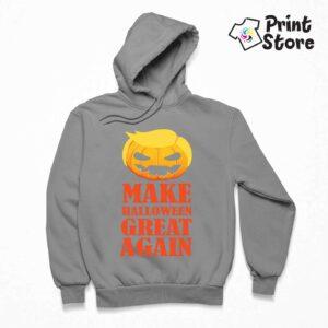Muški sivi duks sa kapuljačom, Make Halloween Great Again. Print Store online prodavnica dukseva