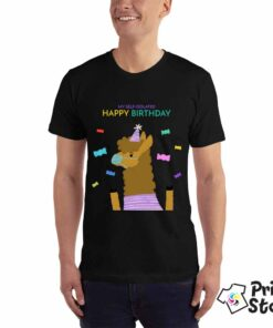 Muška crna majica - My self isolated Happy Birthday - veliki izbor majica sa natpisima u online shopu print store