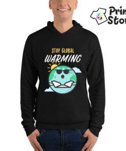 Stop global warming muški crni duks sa kapuljačom. Print Store online prodavnica