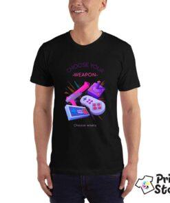 Choose your weapon - gejmerska majica crna boja - Print Store