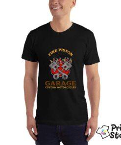 Fire pistion Garage custom motorcycles - štampa na majicama