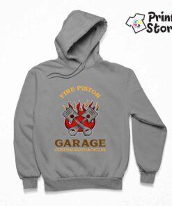 Fire piston garage custom motorcycles - sivi duks sa kapuljačom