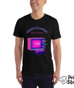Retro gamer muška crna majica - Print Store