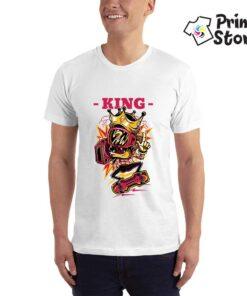 King muška majica - Print Store bela majica