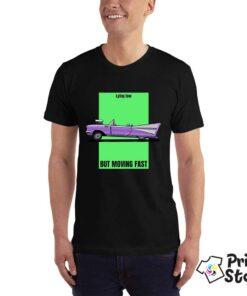 Crna muška auto majica - Lying low but moving fast