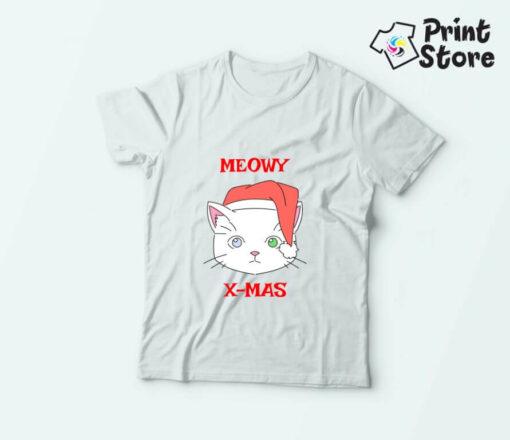 Majice za decu Meowy xmas. Novogodišnje majice za decu
