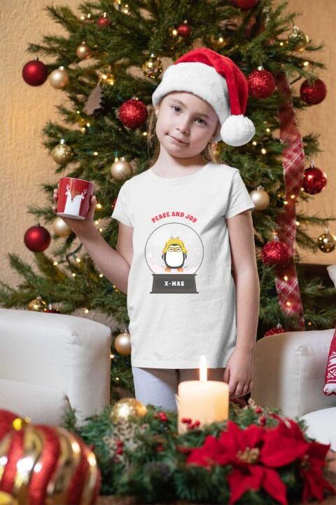 Peace and Joy Christmas majica za devojčice