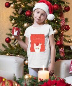 Devojčica sa majicom Santa Claus. Novogodišnje dečije majice