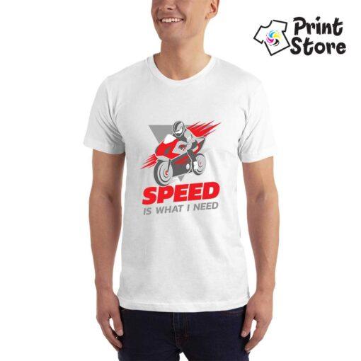 Bela muška majica - Speed is what I need