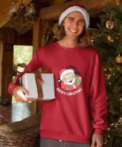 Merry Christmas deda mraz duks u crvenoj boji. Obradujte drage osobe za novogodišnje praznike.