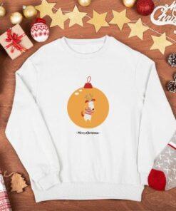 Novogodišnji beli duks bez kapuljače Merry Christmas