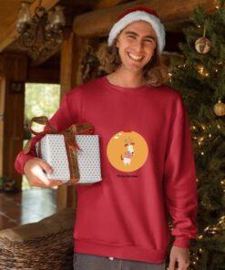 Merry Christmas kugla crvenii duks bez kapuljače. Super poklon za Novu godinu.
