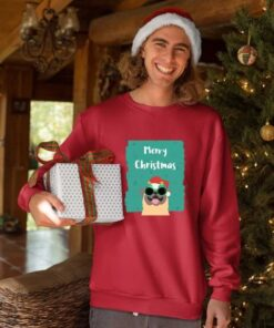 Merry Christmas pas crveni duks bez kapuljače. Zabavan novogodisnji poklon za momke.
