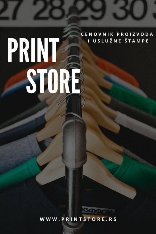 Cenovnik proizvoda i uslužne štampe Print Store Novi Sad