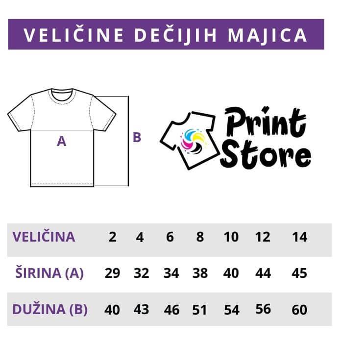 Veličine dečijih majica Print Store online prodavnica i štamparija