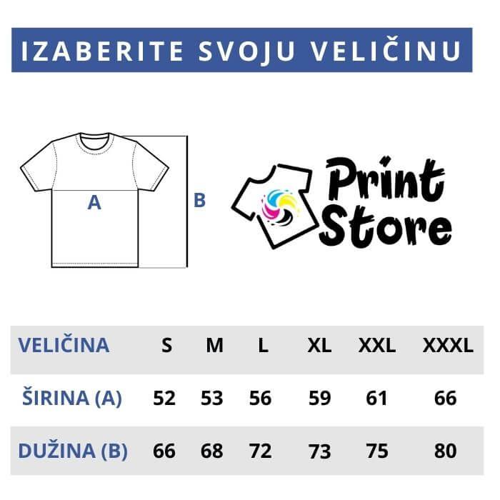 Veličine muških majica Print Store online prodavnica i štamparija