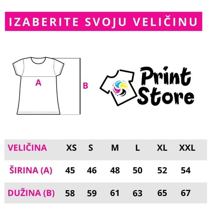 Veličine ženskih majica Print Store online prodavnica i štamparija