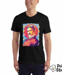 Muška majica crna boja Nikola Tesla. Štampa na majicama Novi Sad