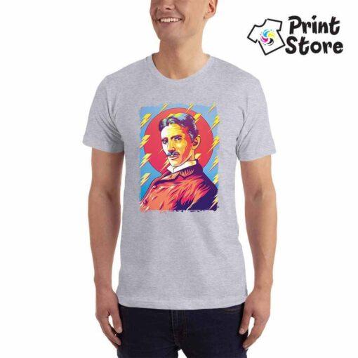 Muška majica siva boja Nikola Tesla. Srpski naučnik na majicama