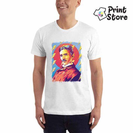Muška majica bela boja Nikola Tesla. Srpski naučnik na majicama